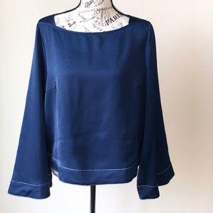 NWOT Blue Satin Blouse with Wide Sleeves